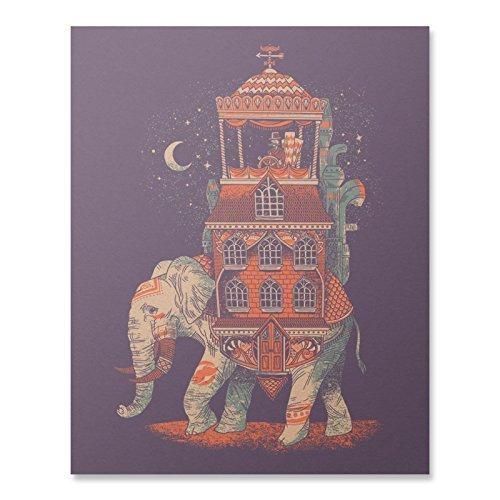 Bohemian Elephant Art Print Vintage Asia Africa India World Traveler Wall Poster Decor Inspirational Beautiful Animal Design Purple 8 x 10 (Bohemian Art)