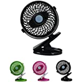 VERTAST Mini Clip Desk Fan Stepless speed Speed Clip On & Stand Desk Table Shelf Plastic Fan Adjustable Silent Cooling Cooler for Stroller Home Office , black