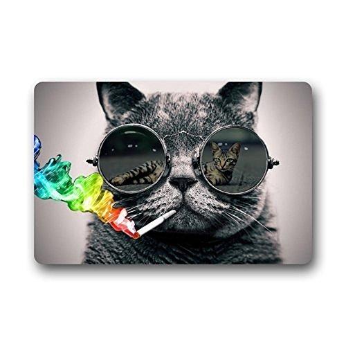TSlook Fashions Doormat Cool Sunglasses Cat Love Sexy Indoor/Outdoor/Front Welcome Door Mat(23.6