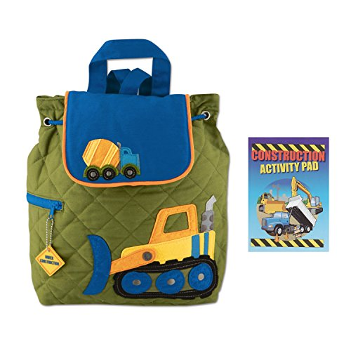 Stephen Joseph Boys Quilted Construction Backpack with Activity Pad