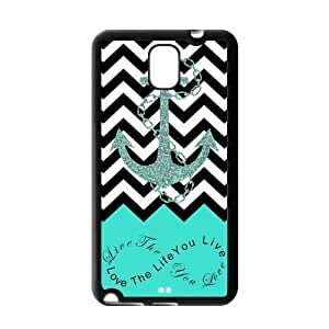 Live the Life You Love, Love the Life You Live. Turquoise Black and White Chevron with Anchor Samsung Note 3 N900 PVC Case/Cover New Fashion, Best Gift