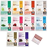 [Dermal] Collagen Essence Mask X 10 Set Bundle with Oil Blotting Paper - Full Face Facial Sheet Mask Pack for Pores Cleaning Blackhead Remover Facial Skin