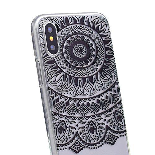 iPhone X Hülle , Modisch Schwarze Spitze Blume Transparent TPU Silikon Schutz Handy Hülle Handytasche HandyHülle Etui Schale Schutzhülle Case Cover für Apple iPhone X