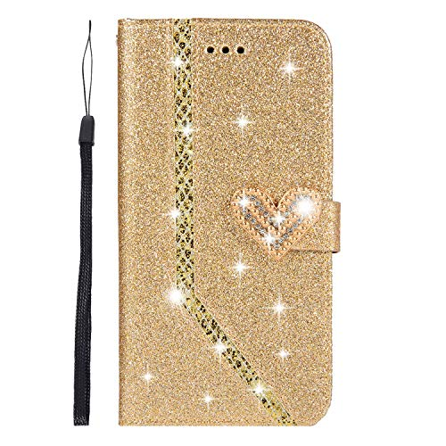 Yobby Huawei Mate 20 Lite Wallet Case,Gold Case Bling Glitter Diamond Crystals Magnetic Heart Buckle Slim PU Leather Flip Cover with Card Holder and Wrist Strap Stand ()