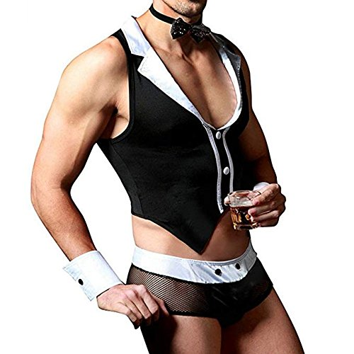 Agoky Men's Waiter Butler Cosplay Costume Tuxedo Lingerie Sets Boxer Briefs Underwear with Collar Handcuffs Black One -