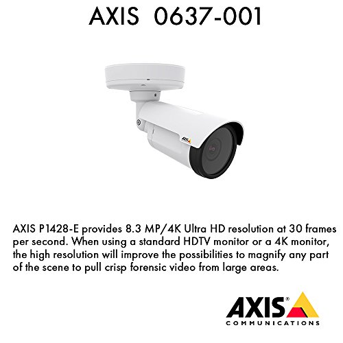 (AXIS Communications 0637-001 P1428-E Fixed Network Camera Outdoor 4K 12FS 3.3-9.8 Remote FCS/ZM WDR)