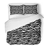 Emvency Bedding Duvet Cover Set Twin (1 Duvet Cover + 1 Pillowcase) Abstract Animal Skin Black and White Stripe Africa Asia Cat Cheetah Close Elegance Hotel Quality Wrinkle and Stain Resistant