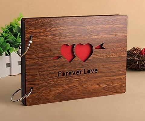 Diy Photo Album Wood Vintage Anniversary Scrapbook 8 X 6 Inches (Forever Love) - Wood Photo Album Book