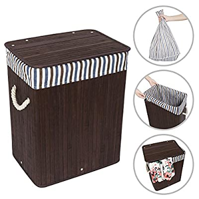 "WOWLIVE Bamboo Laundry Hamper Lid Laundry Basket Rectangular Collapsible Organizer Dirty Clothes Washing Bin (40L) - STORAGE HELPER - The hamper's volume will provide you perfect room for your clothes and keeps your house neat and tidy. Amazing size of 13.68""L x 9.92""W x 17.72""H. Product capacity is about 40L. REMOVABLE LINER BAG - Breathable liner and the natural bamboo protect your clothes from the excessive growth of bacteria and mildew. The cotton & flax blends liner is removable and washable. HEAVY-DUTY BAMBOO FRAME & DURABLE BOTTOM - Bamboo frame is not only sturdy, lightweight but also eco-friendly. There is no worry about the bad smell and very suitable for bedroom and kids' room. - laundry-room, hampers-baskets, entryway-laundry-room - 51eb7Fnl5TL. SS400  -"