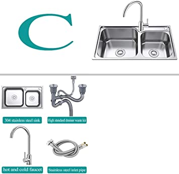 Amazon Co Jp Bathroom Sink Kitchen Sink Sink Sink Insert Diagram 2 0 Bowl With Strainer Waste Pipe 304 Stainless Steel Kitchen Sink Double Bowl Sink Unit 780 X 430 X 230 Mm Color C