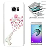 002996 - White Fake Gun Shooting Floral Roses flowers Peace Design Samsung Galaxy S7 Edge G935 Complete 360° Degrees Hard Plastic Protection Case Cover Front&Back Case+Tempered Glass Screen