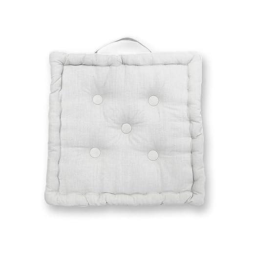 Soleil docre Cojín de Suelo de algodón 50x50x10 cm Panama Blanco