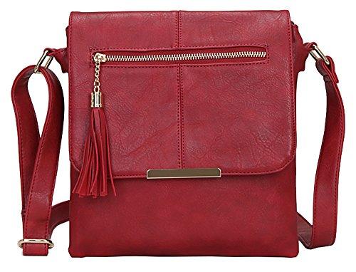 Big bolso Shop para mujer tamaño mediano MODA Messenger Cruz Cuerpo Bolsa de hombro Design 3 - Red