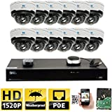 GW Security 16CH H.265 8MP 4K NVR 4MP (2592 x 1520) Plug & Play POE IP Camera System, 12pcs 4MP 1520p 2.8-12mm Varifocal Zoom Weatherproof Dome Security Cameras, Pre-Installed 4TB HDD and More