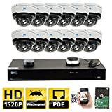 Cheap GW Security 16CH H.265 8MP 4K NVR 4MP (2592 x 1520) Plug & Play POE IP Camera System, 12pcs 4MP 1520p 2.8-12mm Varifocal Zoom Weatherproof Dome Security Cameras, Pre-Installed 4TB HDD and More