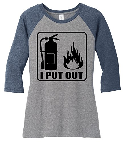 Comical Shirt Ladies I Put Out Funny Shirt Firefighter Gift Shirt Navy Frost/Grey Frost M (I Out Put T-shirt)