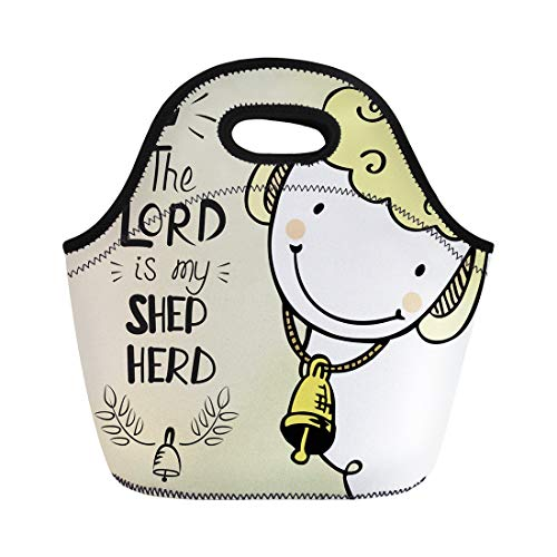 Semtomn Lunch Tote Bag Cute Sheep Bell the Lord Is My Shepherd Biblical Reusable Neoprene Insulated Thermal Outdoor Picnic Lunchbox for Men Women