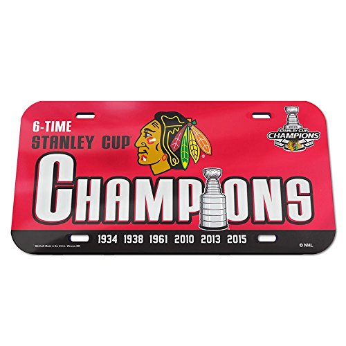 Chicago Blackhawks Official NHL 6 inch x 12 inch 2015 Stanley Cup Champions Crystal Mirror License Plate by Wincraft 061003