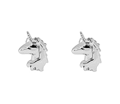 Sterling Silver Unicorn Stud Earrings - SIZE: 12mm x 7mm. Gift Boxed Unicorn Earrings 5073 jHXKOoc