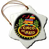 3dRose Sven Herkenrath Celebration - Cinco de Mayo Mexican Style Lettering and Pinata on Black Background - 3 inch Snowflake Porcelain Ornament (orn_280383_1)