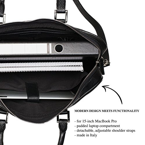 Winter & Co. Premium Herrentasche Laptoptasche Businesstasche Leder schwarz made in Italy