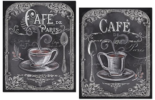 - Gango Home Décor Lovely Chalkboard-Style French Cafe De Paris Coffee Set by TRE Sorelle Studios; Two 11x14in Unframed Paper Posters (Printed On Paper, Not Chalkboard)