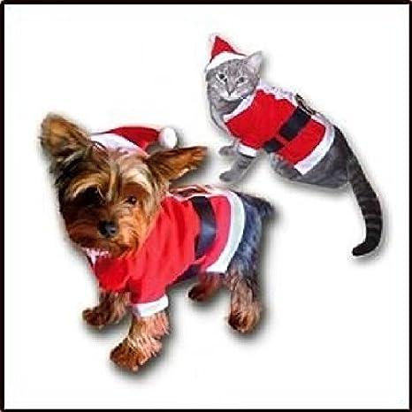Qprods - Abrigo navideño para perros o gatos. Disfraz de Papá Noel para perros pequeños o gatos: Amazon.es: Productos para mascotas