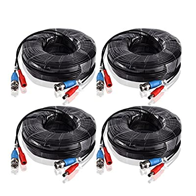 ANNKE 4-Pack 60 Feet (18.3 meters) BNC Video Power Cable Security Camera Wire Cord for CCTV DVR Surveillance System(Black)