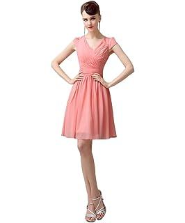 YesDress Junior Lovely Chiffon V-neck Cap Sleeve Short Peach Bridesmaid Dresses