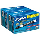 EXPO Low-Odor Dry Erase Markers, Chisel Tip, Assorted Colors, 72 Count