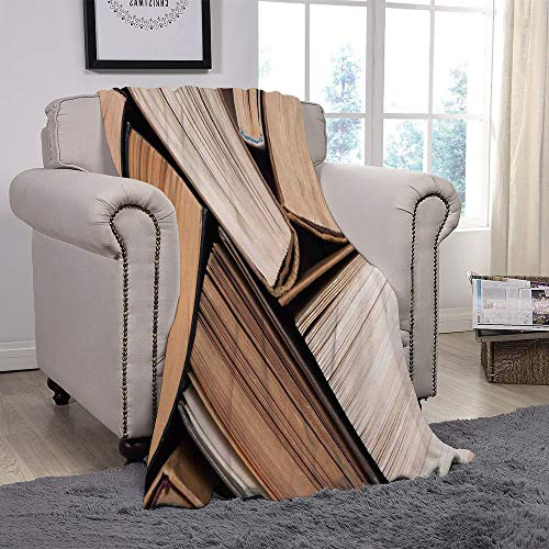 SCOCICI Super Soft Throw Blanket/Abstract Home Decor,Pile of Old Books Research Reading Library Education Literature Theme Picture,Brown Beige/for Couch Bed Sofa for Adults Teen Girls ()