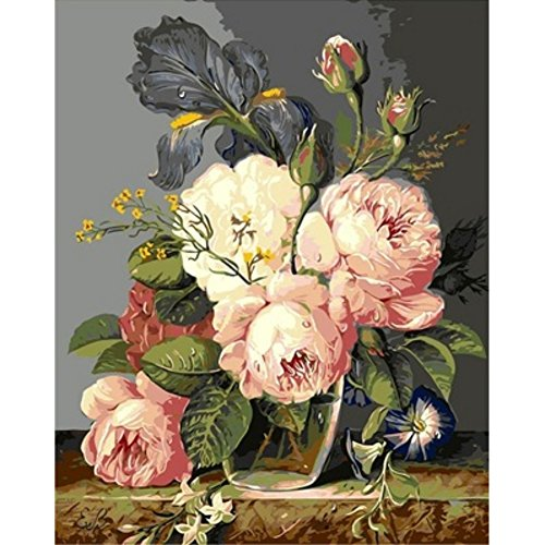 Paint By Number Kit Image Drawing On Canvas (Big Peony Floral)