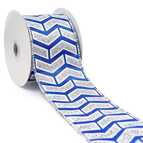 CT CRAFT LLC Royal Blue Metallic Sticky Silver Glitter Chevron/Arrow Wired Ribbon - 2.5 Inch x 10 Yards x 1 Roll