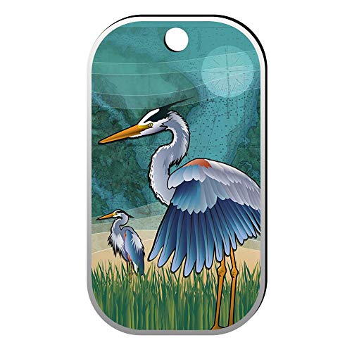 BSARRE Custom ID Pet Tag Double Sided Stainless Steel Square Necklaces Dog Tag Pendant Coastal Blue Heron of The -