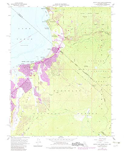YellowMaps South Lake Tahoe CA topo map, 1:24000 Scale, 7.5 X 7.5 Minute, Historical, 1955, Updated 1983, 26.9 x 22 in - Tyvek