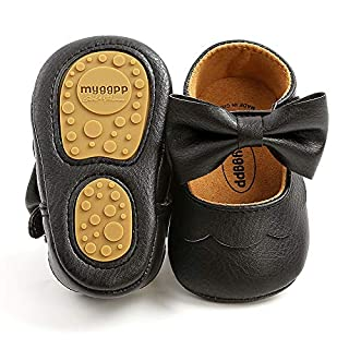 SOFMUO Baby Girls Mary Jane Flats Non-Slip Soft Rubber Sole Bowknot Infant Sneakers Toddler Princess Dress Walking Shoes(A01/Black,12-18 Months)