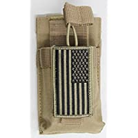 M1SURPLUS MOLLE Compatible Tan Color Radio Pouch + PATRIOT USA FLAG Morale Patch Fits Icom IC-V8 IC-91A Yaesu FT250R FT270R VX-170 FT-60R Wouxon Baofeng UV5R UV5RA FRS GMRS HAM Radios
