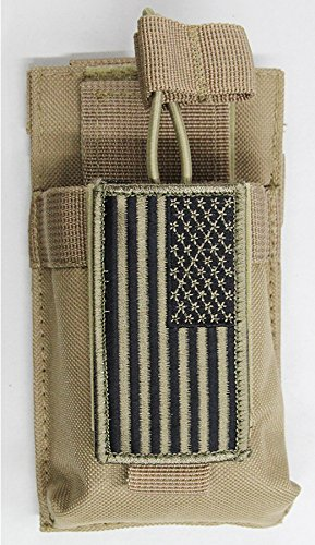 M1SURPLUS MOLLE Compatible Tan Color Radio Pouch + PATRIOT USA FLAG Morale Patch Fits Icom IC-V8 IC-91A Yaesu FT250R FT270R VX-170 FT-60R FT-70DR Wouxon Baofeng UV5R UV5RA FRS GMRS HAM Radios by m1surplus