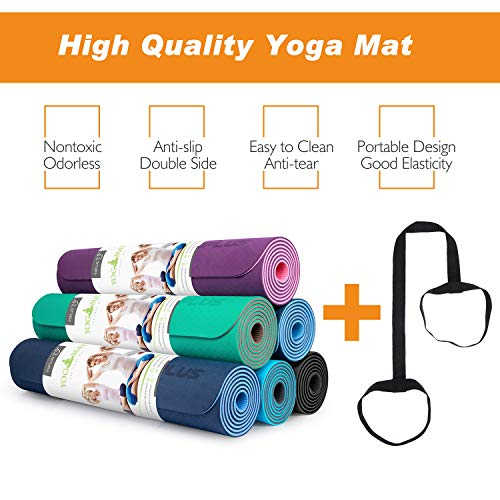 TOPLUS Yoga Mat, 1/4 inch Pro Yoga Mat TPE Eco Friendly Non Slip Fitness Exercise Mat with Carrying Strap-Workout Mat for Yoga, Pilates and Floor Exercises(Purple) by TOPLUS (Image #6)