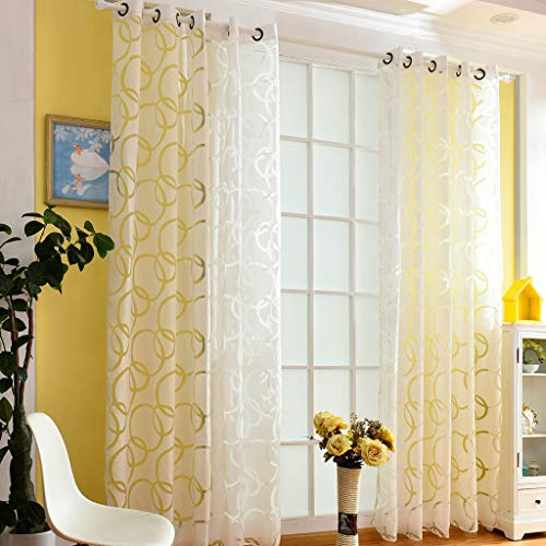 Beyonds Sheer Curtains Panels for Livingroom - ♥ Breathable Window Kitchen Shower Curtain, Circle Bubble Ventilation Insulation Voile Treatment Patio Door Drapes