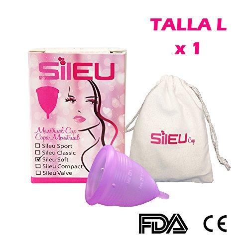 Menstruationstasse Sileu gemacht in Silikon Besoldungsgruppe medizinische, wiederverwendbar Farbe violett, Modell Soft - Größe L - Frauen, die Kinder hatten oder liegen über Alter 25 - 1 Einheit