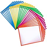 Dry Erase Pockets Rusable Dry Erase Sleeves 30 Pack Eraseble Pocket Sleeve Protect Clear Pocket with Hole Hanger and Colorful