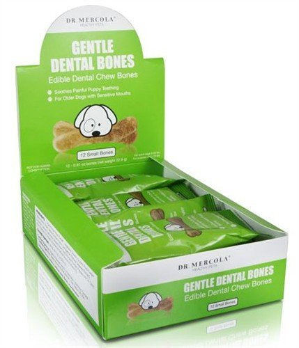 Dr. Mercola Gentle Dental Bones - Edible Dental Chew Bones - Soothes Painful Puppy Teething - For Older Dogs With Sensitive Mouths - 100% USA Ingredients - Small Dogs (Under 25 lbs) - 1 Box (12 Bones)