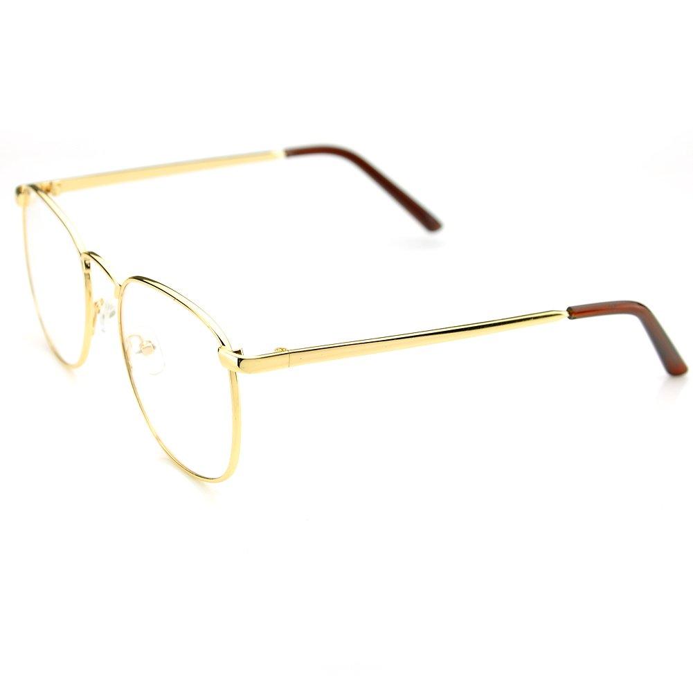 5ac9f77840b PenSee Oversized Circle Metal Eyeglasses Frame Inspired Horned Rim Clear  Lens Glasses