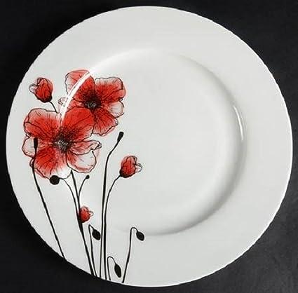 Ciroa Poppy Silhouette Salad-Dessert Plate-Set of 4 & Amazon.com   Ciroa Poppy Silhouette Salad-Dessert Plate-Set of 4 ...