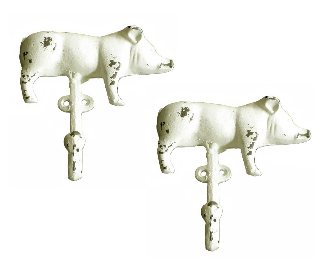Cast Iron Shabby Chic Farmhouse Pig Wall Hooks (Set of Two)