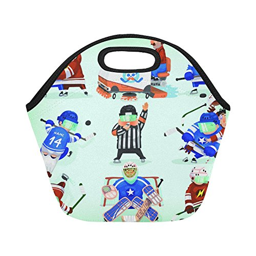 Lunch Tote Bag Ice Hockey Action Portable Lunchbox Handbag Blue