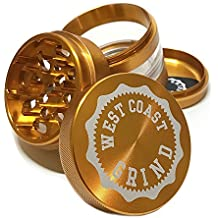 West Coast Grind Grinders–Premium 4 Piece with pollen catcher -2.5 inches deep - BONUS: converts to a Pocket Grinder - Tobacco Spice Herb Weed Grinder– Innovative clear chamber (Gold Bullion)