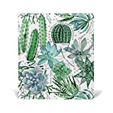 Reusable Leather Book Cover Watercolor Green Succulents Cactus Durable School Book Protector Fits up to 9x11 inch