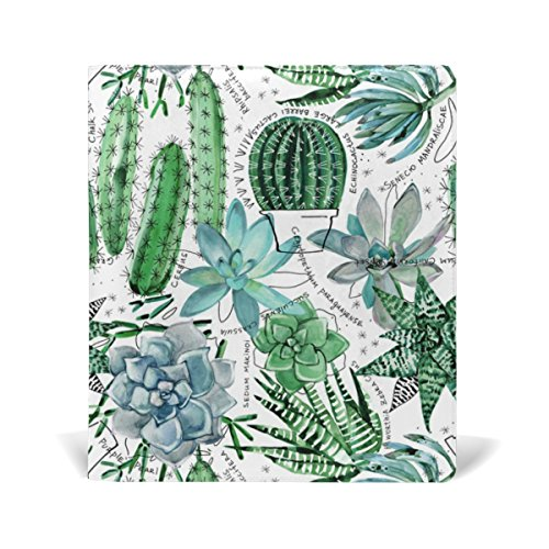 Reusable Leather Book Cover Watercolor Green Succulents Cactus Durable School Book Protector Fits up to 9x11 inch by My Little Nest